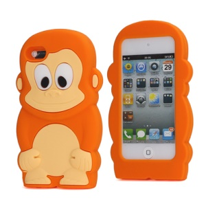 Adorable Smiley Monkey Rubberized Flex Soft Silicone Gel Case for iPod Touch 4 - Orange