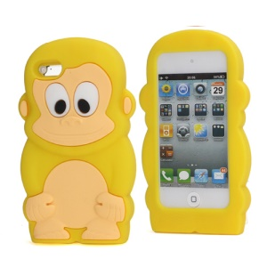 Adorable Smiley Monkey Rubberized Flex Soft Silicone Gel Case for iPod Touch 4 - Yellow
