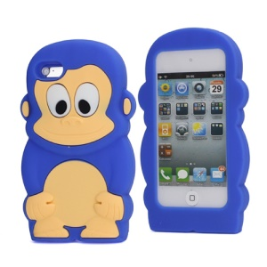 Adorable Smiley Monkey Rubberized Flex Soft Silicone Gel Case for iPod Touch 4 - Dark Blue