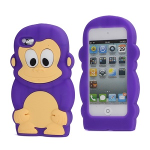 Adorable Smiley Monkey Rubberized Flex Soft Silicone Gel Case for iPod Touch 4 - Purple