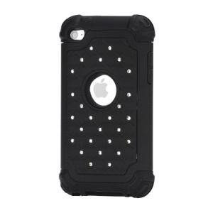 Bling Diamond Hybrid Soft Silicone &amp;amp; PC Hard Case for iPod Touch 4 - Black