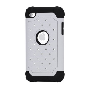 Bling Diamond Hybrid Soft Silicone & PC Hard Case for iPod Touch 4 - Black / White