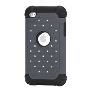 Bling Diamond Hybrid Soft Silicone & PC Hard Case for iPod Touch 4 - Black / Grey