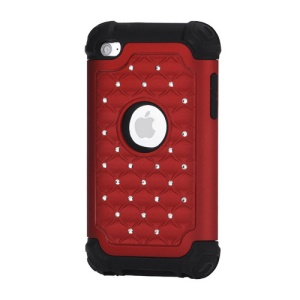 Bling Diamond Hybrid Soft Silicone & PC Hard Case for iPod Touch 4 - Black / Red