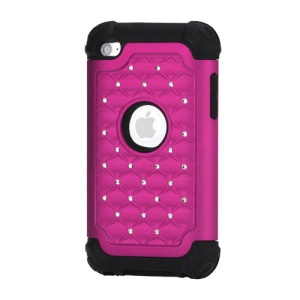 Bling Diamond Hybrid Soft Silicone & PC Hard Case for iPod Touch 4 - Black / Rose