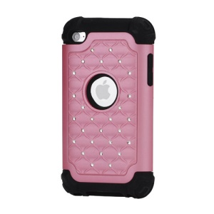 Bling Diamond Hybrid Soft Silicone & PC Hard Case for iPod Touch 4 - Black / Pink