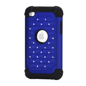 Bling Diamond Hybrid Soft Silicone & PC Hard Case for iPod Touch 4 - Black / Dark Blue