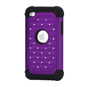 Bling Diamond Hybrid Soft Silicone & PC Hard Case for iPod Touch 4 - Black / Purple