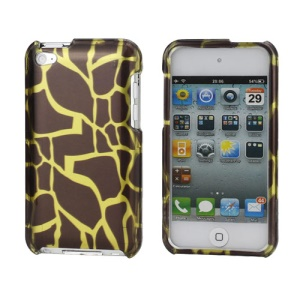 Snap-on Spot Pattern Plastic Hard Case for iPod Touch 4 - Gold / Coffee