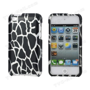 Snap-on Spot Pattern Plastic Hard Case for iPod Touch 4 - Silver / Black