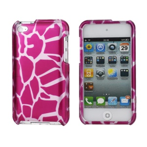 Snap-on Spot Pattern Plastic Hard Case for iPod Touch 4 - Silver / Rose