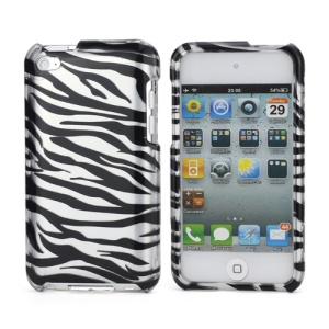 Zebra Stipe 2 in 1 Snap-on Hard Plastic Case for iPod Touch 4 - Black / Silver