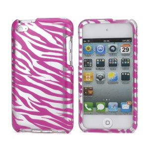 Zebra Stipe 2 in 1 Snap-on Hard Plastic Case for iPod Touch 4 - Silver / Rose
