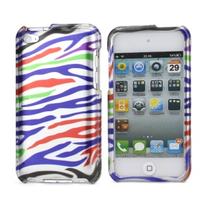 Zebra Stipe 2 in 1 Snap-on Hard Plastic Case for iPod Touch 4 - Silver / Colorful