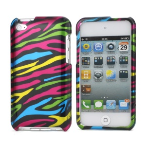 Zebra Stipe 2 in 1 Snap-on Hard Plastic Case for iPod Touch 4 - Black / Colorful