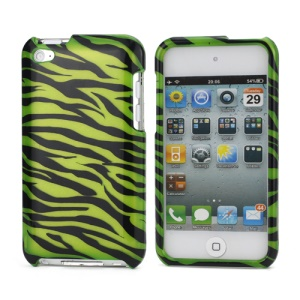 Zebra Stipe 2 in 1 Snap-on Hard Plastic Case for iPod Touch 4 - Black / Green
