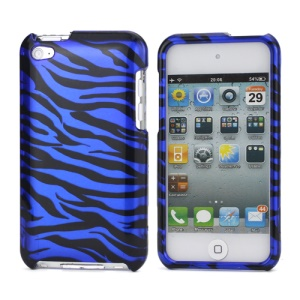 Zebra Stipe 2 in 1 Snap-on Hard Plastic Case for iPod Touch 4 - Black / Dark Blue