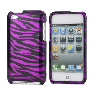 Zebra Stipe 2 in 1 Snap-on Hard Plastic Case for iPod Touch 4 - Black / Purple