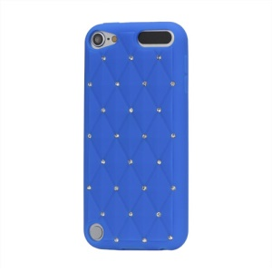 Babysbreath Rhinestone Silicone Skin Case for iPod Touch 5 - Dark Blue