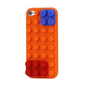 Stylish Building Block Silicone Case Cover for iPod Touch 5 - Orange