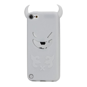 New Devil Face Soft Silicone Skin Case Cover for iPod Touch 5 - White