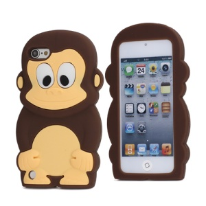Cute 3D Monkey King Soft Protective Silicone Jelly Case for iPod Touch 5 - Coffee