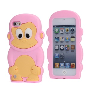 Cute 3D Monkey King Soft Protective Silicone Jelly Case for iPod Touch 5 - Pink