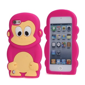 Cute 3D Monkey King Soft Protective Silicone Jelly Case for iPod Touch 5 - Rose