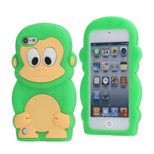 Cute 3D Monkey King Soft Protective Silicone Jelly Case for iPod Touch 5 - Green