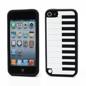Piano Keys Design Soft Silicone Jelly Case Cover for iPod Touch 5 - White / Black