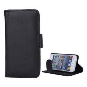 New Folio Stand Leather Case Flip Card Wallet Cover for iPod Touch 5 - Black
