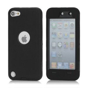 Snap-on Plastic and Silicone Combo Defender case for iPod Touch 5 - Black