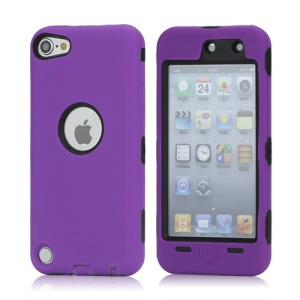 Snap-on Plastic and Silicone Combo Defender case for iPod Touch 5 - Black / Purple
