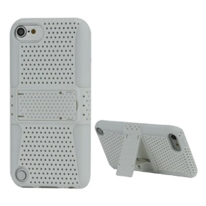 2 in 1 Ventilated Plastic and Silicone Combo Case with Stand for iPod Touch 5 - White
