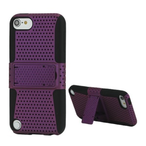 2 in 1 Ventilated Plastic and Silicone Combo Case with Stand for iPod Touch 5 - Black / Purple
