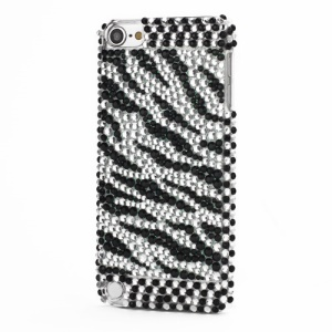Zebra Black White Stripe Diamond Rhinestone Crystal Bling Case for iPod Touch 5