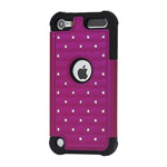 Shiny Diamond Hard Cover with Soft Silicone Core Hybrid Shell Case for iPod Touch 5 - Black / Rose