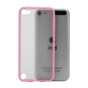 Glossy Hard Back Case for iPod Touch 5 with Soft TPU Edges - Pink