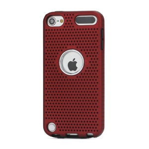 Mesh Design PC & TPU Hybrid Dual Layer Hard Back Case for iPod Touch 5 - Black / Red