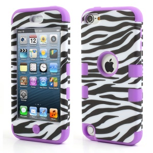 Purple for iPod Touch 5 3 in 1 Silicone & Plastic Combo Case Zebra Pattern