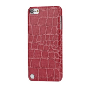 Fashionable Glossy Crocodile Leather Skin Hard Case for iPod Touch 5 - Rose