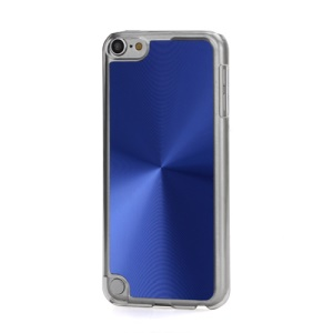 Metallic CD Pattern Transparent Edge Hard Case Cover Skin for iPod Touch 5 - Dark Blue