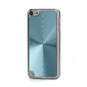 Metallic CD Pattern Transparent Edge Hard Case Cover Skin for iPod Touch 5 - Light Blue