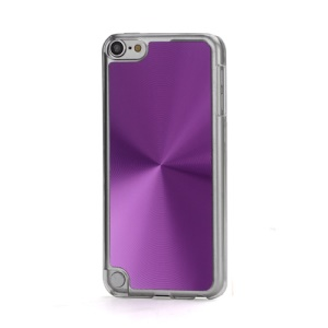 Metallic CD Pattern Transparent Edge Hard Case Cover Skin for iPod Touch 5 - Purple