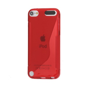 S Shape TPU Case Cover for iPod Touch 5 - Red