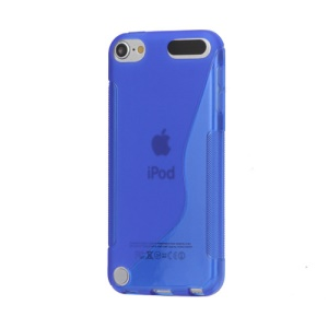 S Shape TPU Case Cover for iPod Touch 5 - Blue