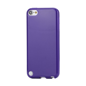 Glossy Solid Color TPU Candy Gel Cover Case for iPod Touch 5 - Purple