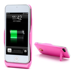 1500mAh Backup Power External Battery Charger Case Stand for iPod Touch 5 - Pink