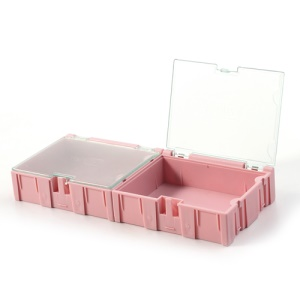 Portable Two-bin Parts Storage Box Tool Organizer Lid Case for Small Parts Items