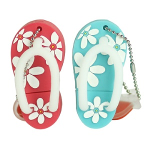 Stylish Flip-flop Slipper Silicon USB Flash Disk, 2/4/8/16/32GB Available